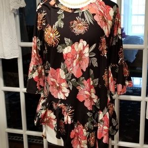 Paulino Black & Floral Ruffle Trim Hi-Low Tunic